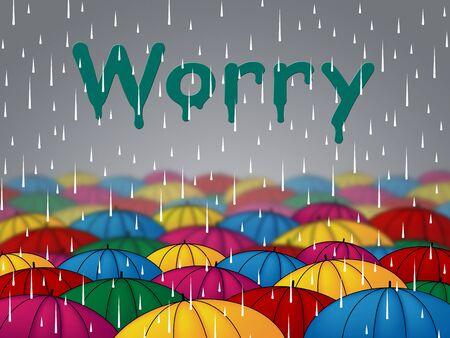 precipitaci�n: Indicando preocuparse Lluvia Lluvia Precipitaciones y sombrillas Foto de archivo