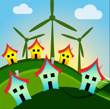 Wind Turbine Houses Representing Environmental Conservation And Residential Stock Photo