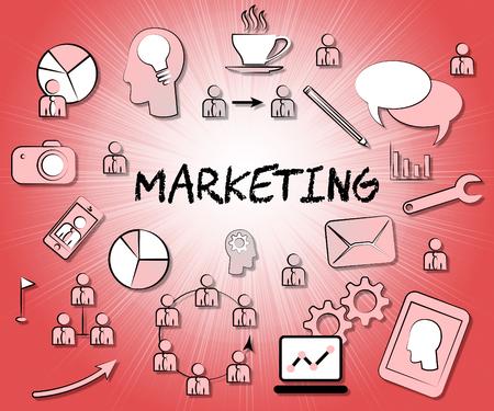 emarketing: Marketing Icons Indicating E-Marketing Media And Promotions