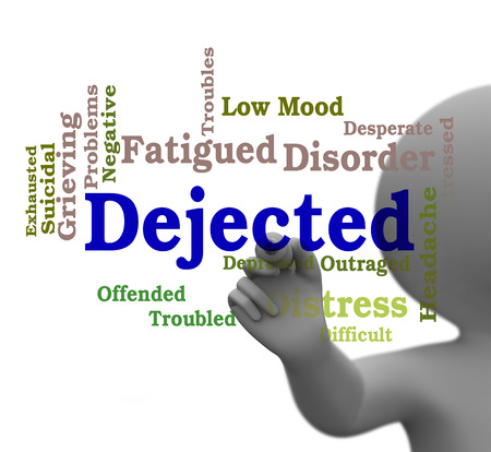 doleful: Dejected Word Indicating Gloomy Melancholy 3d Rendering Stock Photo