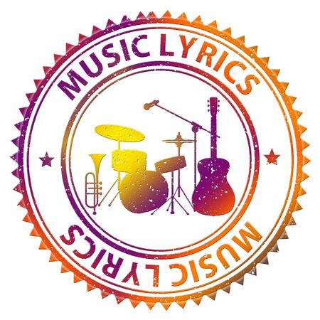 letras musicales: Letras de música que indican la pista de sonido y acústica