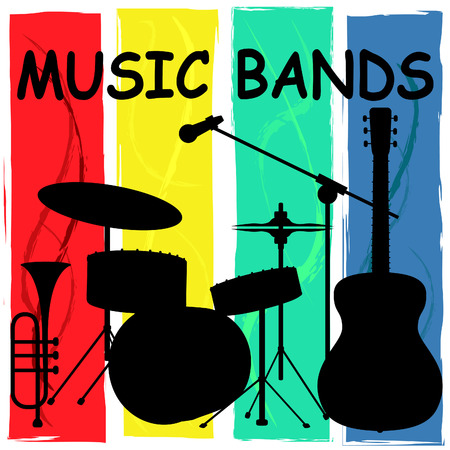 soundtrack: Music Bands Representing Sound Track And Groups Stock Photo