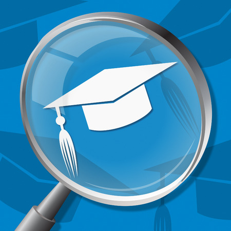 educational: Mortarboard Magnifier Indicating Graduate University And Educational Stock Photo