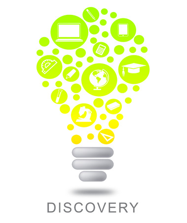 discovery: Discovery Lightbulb Showing Find Out And Powered