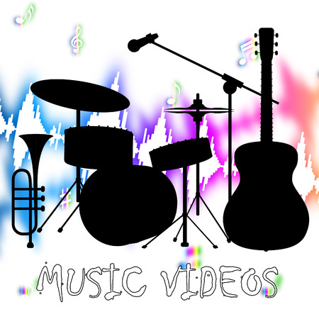 soundtrack: Music Videos Showing Audio Visual And Soundtrack Stock Photo
