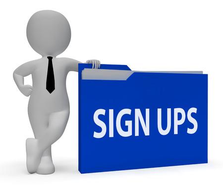 subscribing: Sign Ups Folder Showing Registering Folders 3d Rendering
