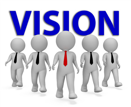 Vision Businessmen Showing Company Visions 3d Rendering