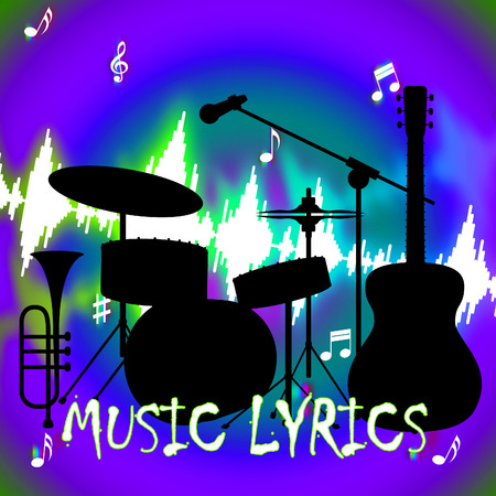 letras musicales: Music Lyrics Representing Sound Track And Melody Foto de archivo