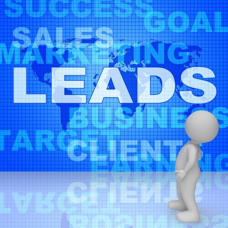 Leads Words Showing Vending E-Commerce 3d Rendering