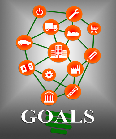 aspirational: Goals Icons Meaning Aim Improve And Symbol Stock Photo