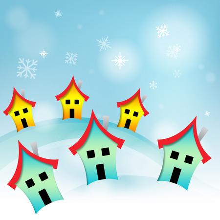 habitation: Snowy Houses Showing Habitation Properties And Homes Stock Photo