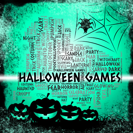 play time: Halloween Games Representing Trick Or Treat And Play Time Stock Photo