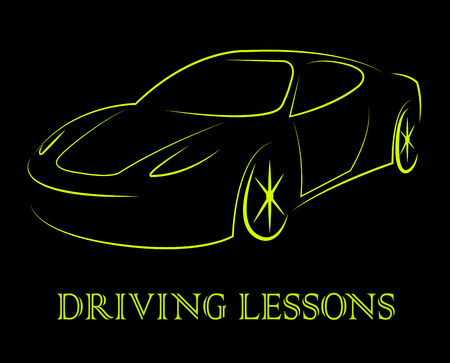 passenger car: Driving Lessons Showing Passenger Car And Driver Stock Photo