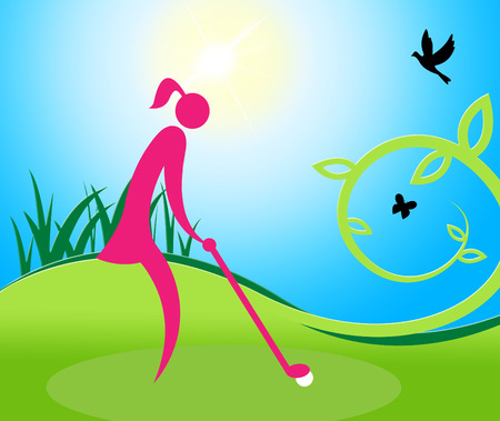 woman golf: Woman Teeing Off Indicating Golf Online And Females Stock Photo