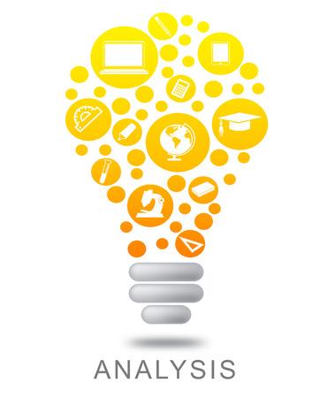 investigates: Analysis Lightbulb Showing Investigates Analyze And Investigation Stock Photo