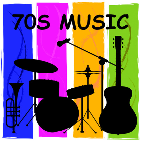 Seventies Music Or 1970s Songs Plus Soundtracks Stok Fotoğraf