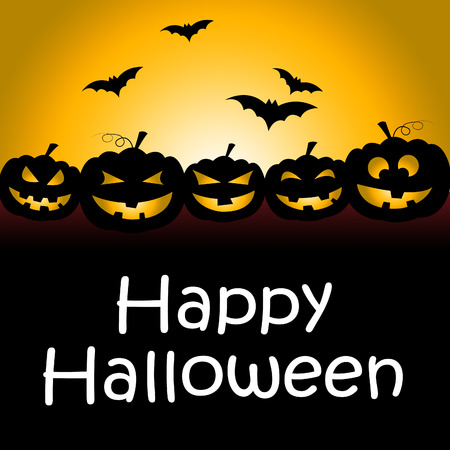 Happy Halloween Representing Trick Or Treat And Spooky Stock Photo