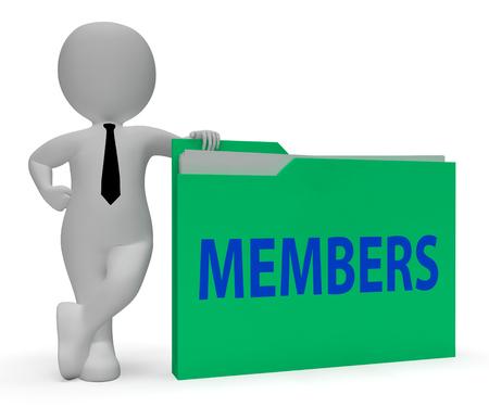 subscribing: Members Folder Representing Join Up 3d Rendering