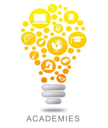 Academies Lightbulb Representing Colleges Institutes And Schools