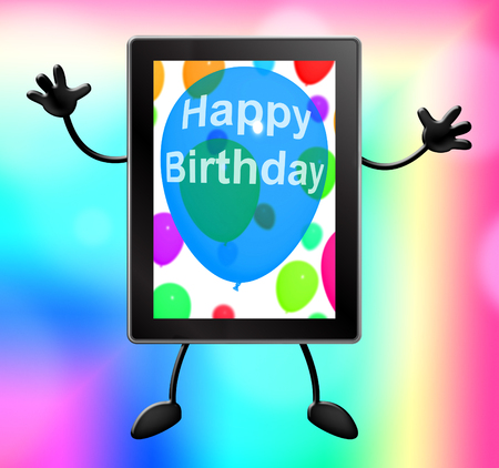 congratulate: Happy Birthday Tablet Showing Celebrating 3d Illustration Stock Photo