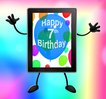 seventh: Seventh Birthday Tablet Showing 7th Party 3d Illustration