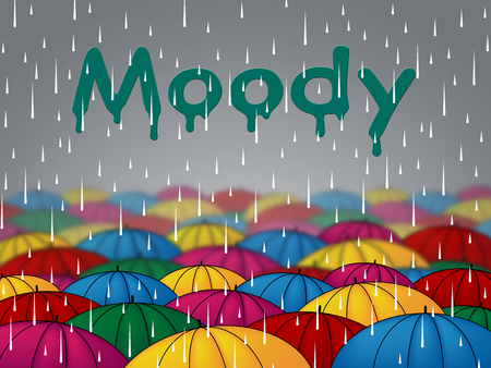 mope: Moody Rain Indicating Bad Mood And Sulky Stock Photo
