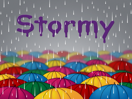 precipitation: Stormy Rain Showing Rainy Showers And Thunderstorms