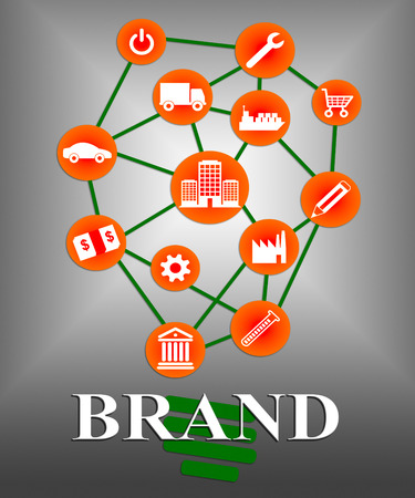 branded: Brand Icons Indicating Company Identity And Branded Stock Photo