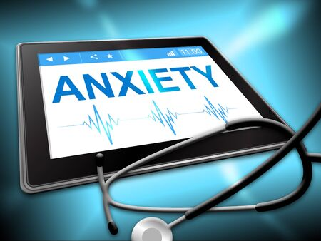 nervousness: Anxiety Tablet Showing Angst Fear 3d Illustration Stock Photo