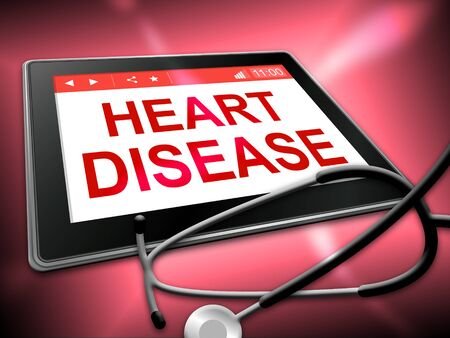 heart disease: Heart Disease Tablet Indicating Online Cardio 3d Illustration
