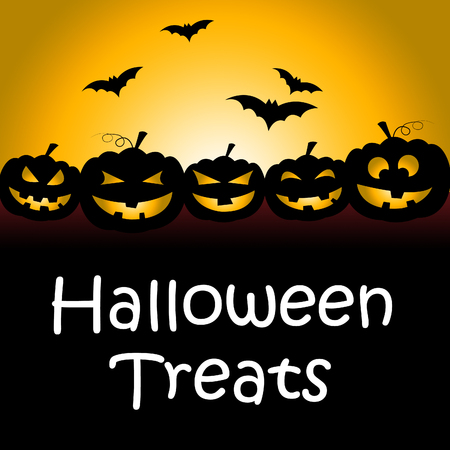 Halloween Treats Showing Spooky Luxuries And Candy Stock Photo