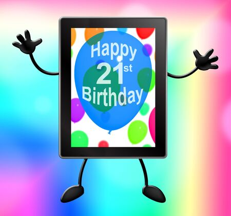 first birthday: Twenty First Birthday Showing 21st 3d Illustration Tablet