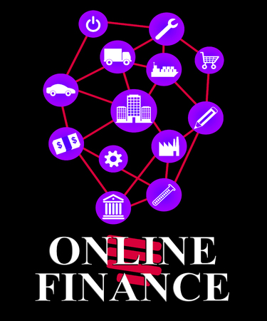 loans: Online Finance Representing Internet Loans And Investment
