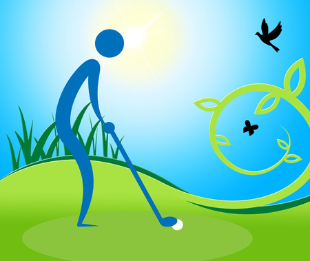 golfing: Man Teeing Off Showing Golf Course And Golfing Stock Photo