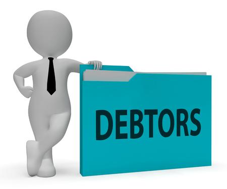 lender: Debtors Folder Indicating Lender Debt 3d Rendering