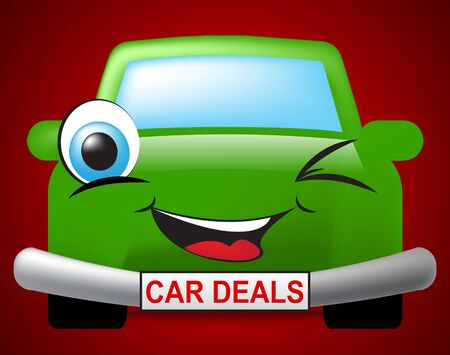 discounted: Car Deals Showing Vehicle Offers And Promotion Stock Photo