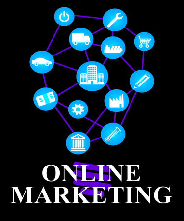 Online Marketing Icons Showing Market Promotions Online Stock Photo
