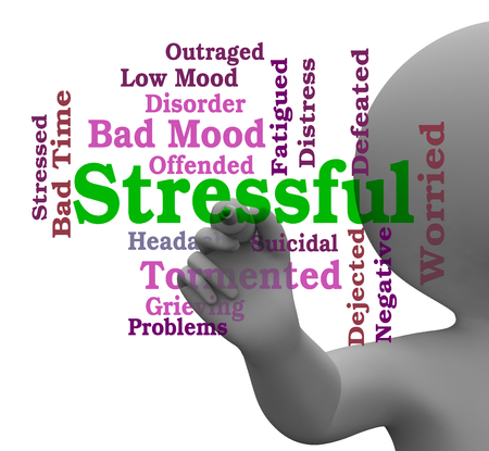 stressful: Stressful Word Meaning Pressure Overload 3d Rendering Stock Photo