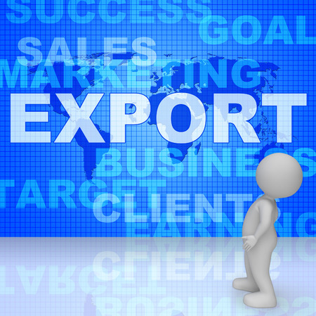 sell: Export Word Showing Sell Overseas 3d Rendering Stock Photo