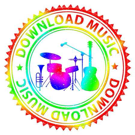 downloading: Download Music Indicating Songs Online And Downloading Stock Photo
