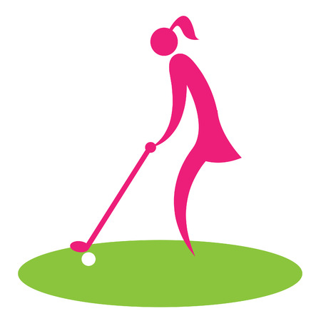 golfcourse: Woman Teeing Off Showing Golf Course Professional Golfer Stock Photo