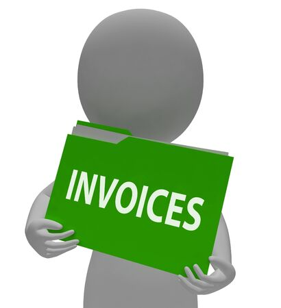 due: Invoices Folder Showing Bill Due 3d Rendering