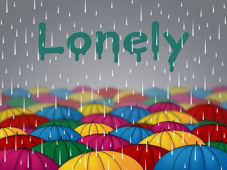 friendless: Lonely Rain Indicating Isolated Friendless And Rejected