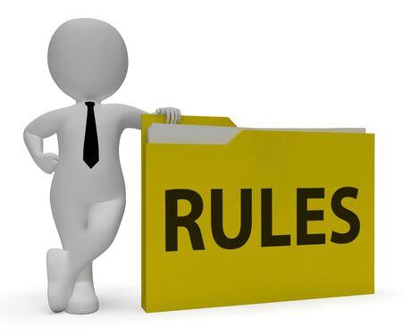 regulated: Rules Folder Showing Guidlines File 3d Rendering