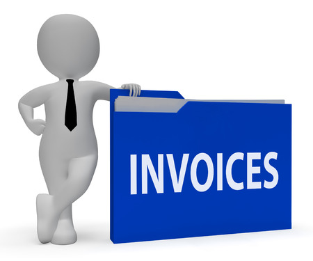 invoices: Invoices Folder Indicating Due Bills 3d Rendering