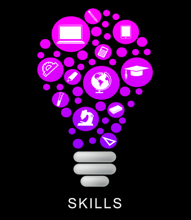expertise: Skills Lightbulb Indicating Competence Capable And Expertise