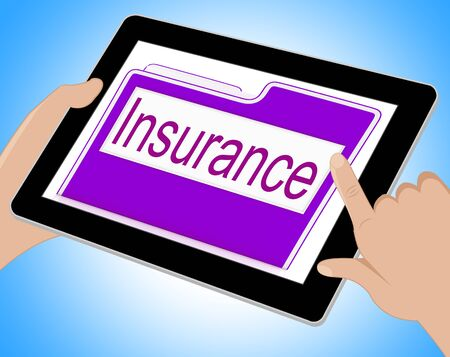 insure: Insurance Tablet Meaning Policy Protection 3d Illustration