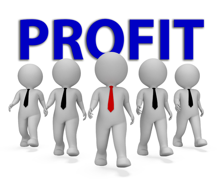 Profit Businessmen Showing Earnings Growth 3d Rendering Stock Photo