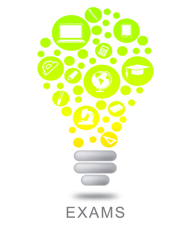 questionnaires: Exams Lightbulb Showing Testing Evaluation And Examinations