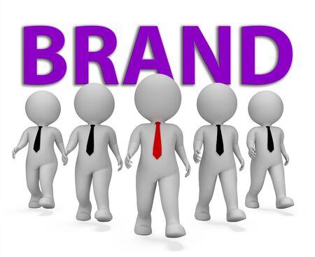 brand identity: Brand Businessmen Indicating Company Identity 3d Rendering Stock Photo